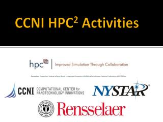 CCNI HPC 2  Activities