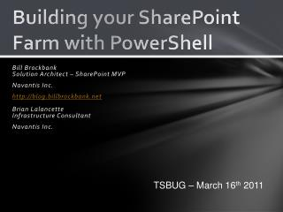 Building your SharePoint Farm with PowerShell