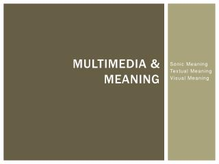 Multimedia & Meaning