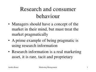 Research and consumer behaviour