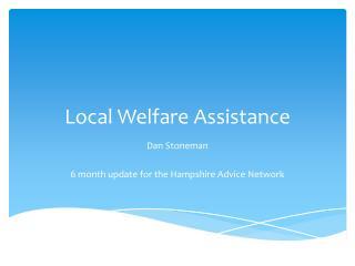 Local Welfare Assistance