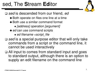 Sed, The Stream Editor