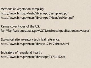 Methods of vegetation sampling: blm/nstc/library/pdf/samplveg.pdf