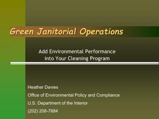 Green Janitorial Operations