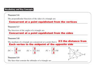 Concurrent at a point equidistant from the vertices