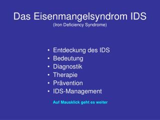 Das Eisenmangelsyndrom IDS Iron Deficiency Syndrome