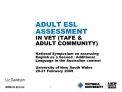 ADULT ESL ASSESSMENT  IN VET TAFE  ADULT COMMUNITY  National Symposium on assessing English as a Second