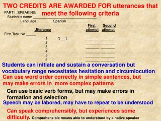 TWO CREDITS ARE AWARDED FOR utterances that meet the following criteria