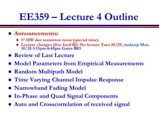EE359 � Lecture 4 Outline