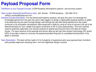 Payload Proposal Form