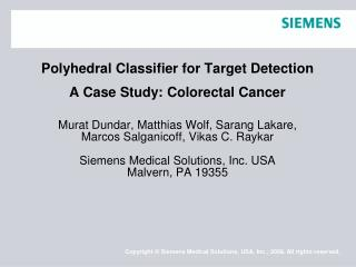Polyhedral Classifier for Target Detection A Case Study: Colorectal Cancer