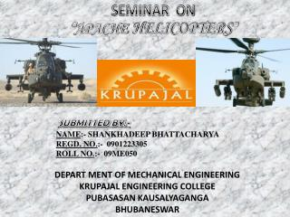 "SEMINAR  ON "" APACHE HELICOPTERS """