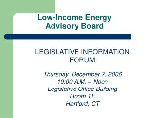 Low-Income Energy Advisory Board