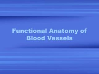 Functional Anatomy of Blood Vessels