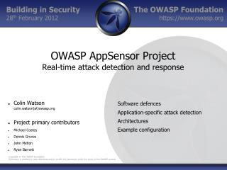 OWASP AppSensor Project Real-time attack detection and response