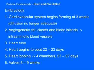 Pediatric Fundamentals –  Heart and Circulation