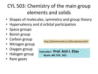 CYL 503: Chemistry of the main group elements and solids