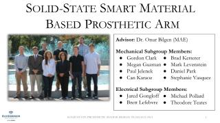 Solid-State Smart Material Based  Prosthetic Arm