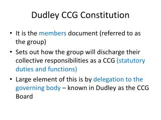 Dudley CCG Constitution