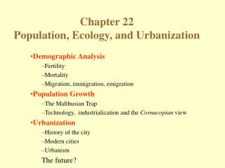 Population, Ecology, and Urbanization