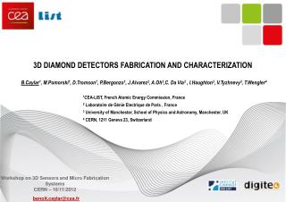 3D Diamond detectors fabrication and Characterization