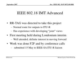 IEEE 802.18 IMT Advanced