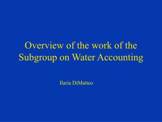 Overview of the work of the Subgroup on Water Accounting
