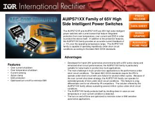AUIPS71XX Family of 65V High Side Intelligent Power Switches