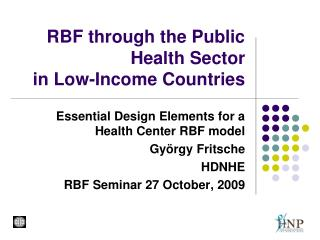 RBF through the Public Health Sector  in Low-Income Countries