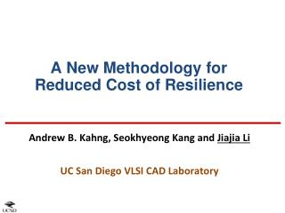 A New Methodology for Reduced Cost of Resilience