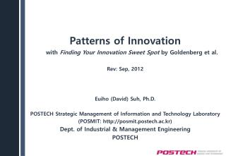 Patterns of Innovation with  Finding Your Innovation Sweet  Spot  by Goldenberg et al.