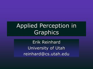 Applied Perception in Graphics