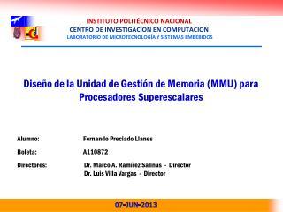 Diseño de la Unidad de Gestión de Memoria (MMU) para Procesadores  Superescalares