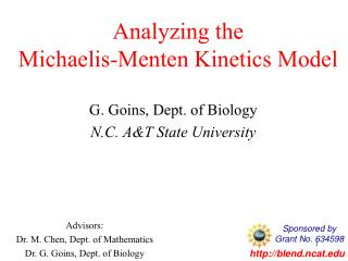 Analyzing the  Michaelis-Menten Kinetics Model