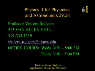 Physics II for Physicists  and Astronomers 29:28