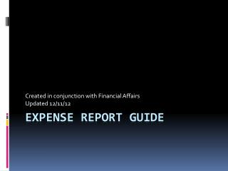 Expense Report Guide