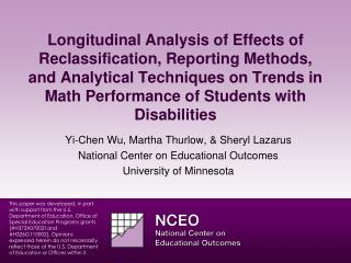 Yi-Chen Wu, Martha  Thurlow , &  S heryl Lazarus National Center on Educational Outcomes
