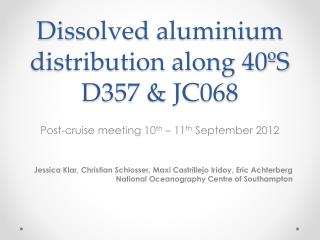 Dissolved  aluminium  distribution along 40ºS D357 & JC068
