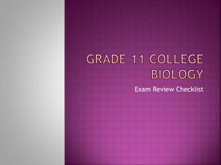 Grade 11 College Biology
