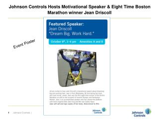 Johnson Controls Hosts Motivational Speaker & Eight Time Boston Marathon winner Jean Driscoll