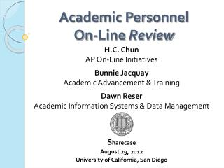 Academic Personnel  On-Line  Review