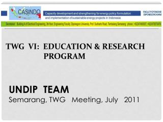 TWG  VI:  EDUCATION & RESEARCH PROGRAM