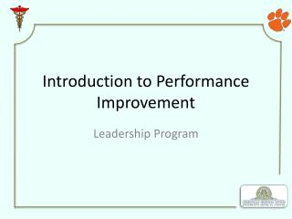 Introduction to Performance Improvement