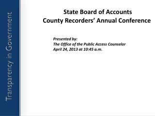 State Board of Accounts County Recorders' Annual Conference