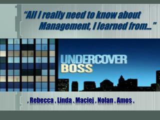 . Rebecca . Linda .  Maciej  . Nolan . Amos .