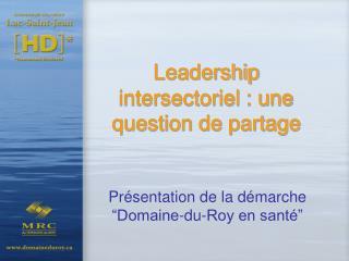 Leadership intersectoriel : une question de partage