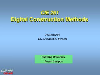CIE 261 Digital Construction Methods