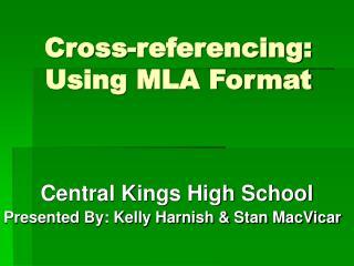 Cross-referencing: Using MLA Format