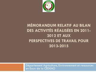 Département Agriculture, Environnement et ressources en Eaux de la CEDEAO