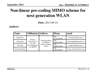 Non-linear pre-coding  MIMO scheme  for  next generation WLAN